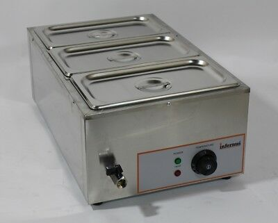 New Electric Wet Well Bain Marie 3X GN 1/3 Pans, Lids & Tap