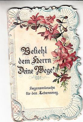 RARE VINTAGE Booklet/Victorian Scrap/FOREIGN GERMAN!/EMBOSSED Flowers Gold Bible