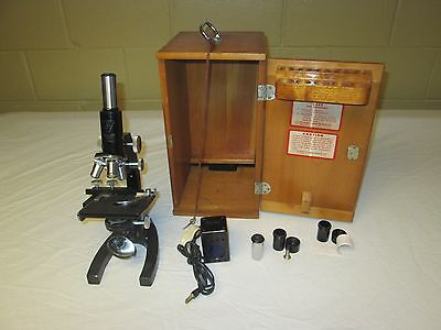 ANTIQUE BAUSCH & LOMB OPTICAL CO. MICROSCOPE W/ACCESSORIES W/ Wooden Case Nice!!