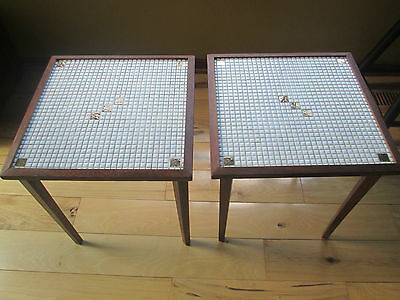 Mid Century Modern Tile Top  & Walnut Stackable Tables Set Of 2