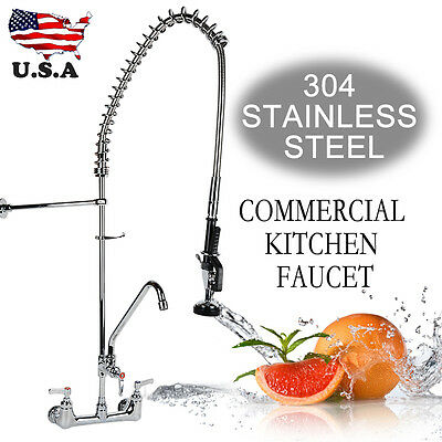 "12"" Add-On Pull Down Sprayer Spout Pre-Rinse Kitchen Faucet Commercial"