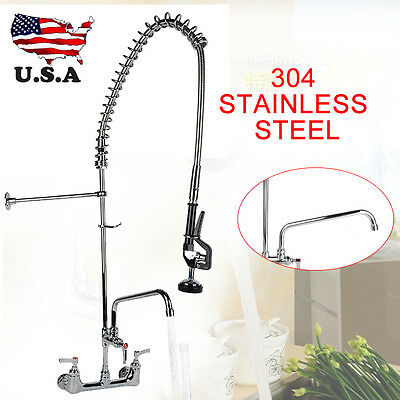 "Commercial Kitchen Restaurant Pre-Rinse Faucet Swivel with 12"" Add-On Faucet"