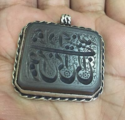 Rare Persian Agate Stone Pendant SEAL Hand engraved studded on Silver