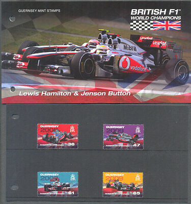 Guernsey-British F1 World Champions-Lewis Hamilton-Button-set & Pres.pack mnh