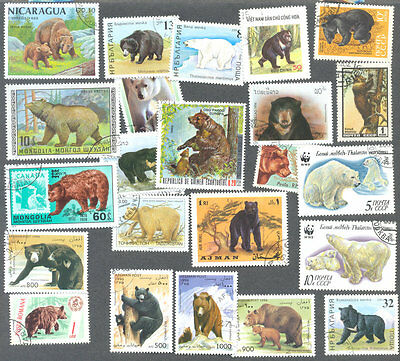 Bears-collection 50 all different stamps-Wild animals