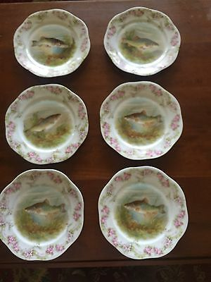 "Set Of 6 Antique Hand-Painted Mignon 8"" Bavarian Fish Plates - Highly Decorated"