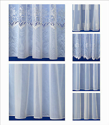 Finished White Voile / Net Curtains by the Metre, Plain, Floral & Square