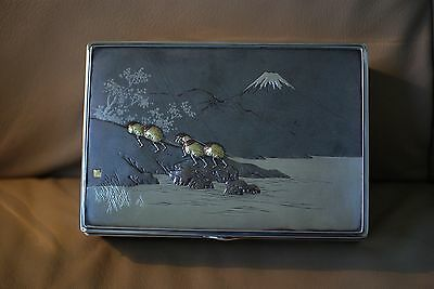 Japanese Antique Meiji Pure Silver, Mixed Metals and Wood Box, by Gisho