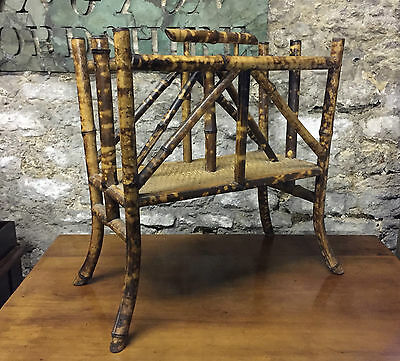Antique Edwardian Bamboo Two Division Magazine Rack