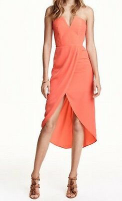 Superbe Robe Bustier Rouge Portefeuille Marque H&m, Taille 40