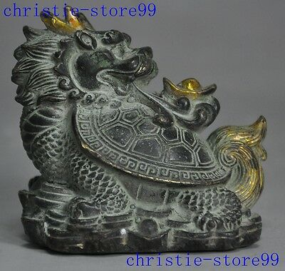 Old Chinese bronze gilt auspicious lucky Yuanbao animal Dragon tortoise statue
