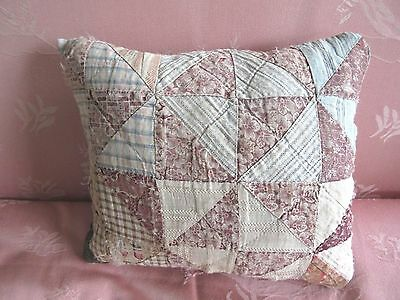 Hand Made from 1800s Antique Quilt Pillow Small Primitive Shabby Cottage 8x10""