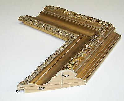 Ornate Gold scoop NEW modern PICTURE FRAME Moulding PHOTO wood molding