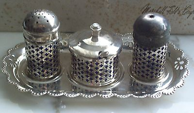 "VINTAGE ""CELTIC QUALITY"" SILVER PLATE MINIATURE CONDIMENT SET with TRAY"