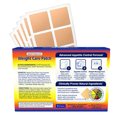 Metabolism Booster Weight Control Appetite Reducer Natural 30 Patches