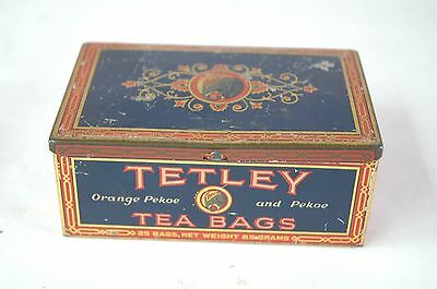 Vintage Tetley Orange Pekoe 25  Tea Bags Tin Box