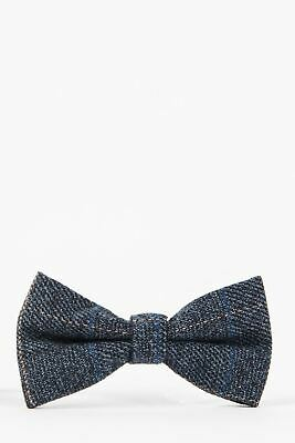 Mens Marc Darcy Designer Blue Multi Tonal Check Tweed Bowtie