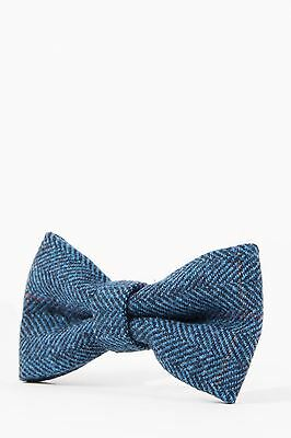 Mens Marc Darcy Designer Blue Tweed Check Bow Tie