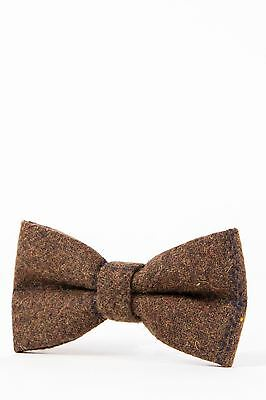 Mens Marc Darcy Designer Brown Navy Check Tweed Bow Tie