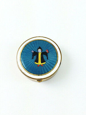 Antique Brass Guilloche Enamel Painted Girl in Black Gold Robe Pill Snuff Box
