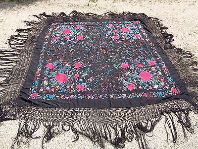 Vintage Silk Hand Embroidered Floral Piano Shawl Ornate Fringe - Beautiful!