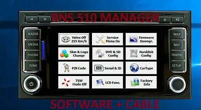 RNS 510 MANAGER software read PIN Code, Vehicle type change, Video In Motion off
