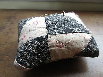 Hand Made from 1800s Antique Quilt Mini Pillow Primitive Pin Cushion Pin Keep
