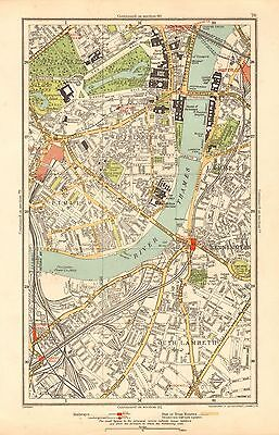 1933 London Map- Westminster, Pimlico, Lambeth, Kennington, The Mall