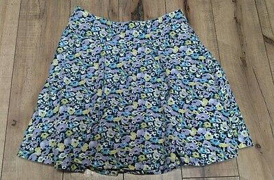 Lands End Girls Floral Skirt Skort Size 14 Purple Yellow Blue 100% Cotton