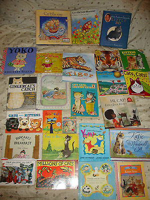MIXED Lot of 33 CAT/ KITTY THEMED PICTURE BEGINNING READING CHILDREN'S Books