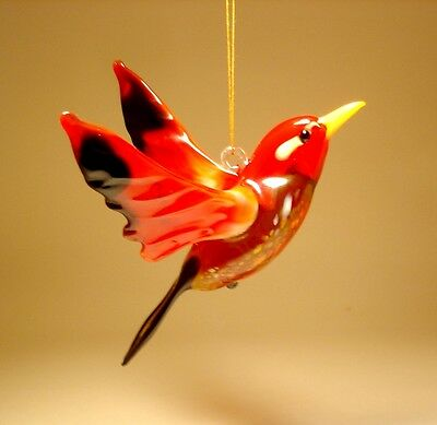 "Blown Glass Figurine ""Murano"" Art Hanging RED and Black Bird Ornament"