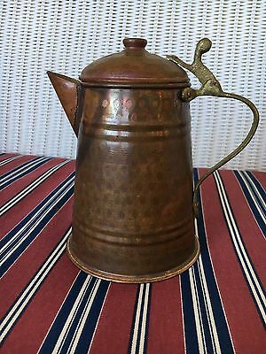 Antique Hand Hammered Copper Coffee/tea Pot With Applied Brass Handle