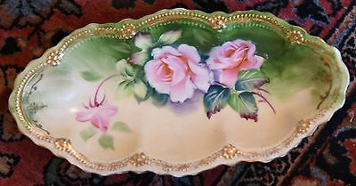 """ANTIQUE HAND PAINTED CABBAGE ROSE PORCELAIN CANDY NUT DISH GERMAN 9.5""""L x 6"""" W"""