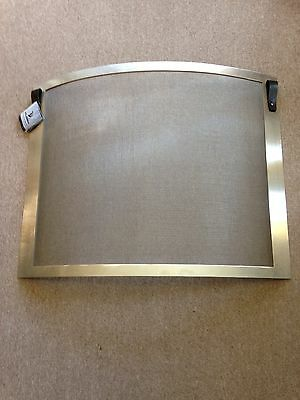 Pilgrim Bowed Fireplace Screen Stainless Steel Frame & Mesh with leather pulls