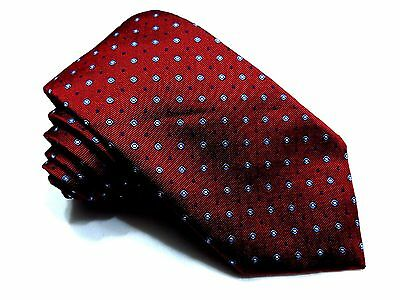 """PROFUOMO Woven Silk tie Red Blue Foulard Made in Italy 58.5"""""""