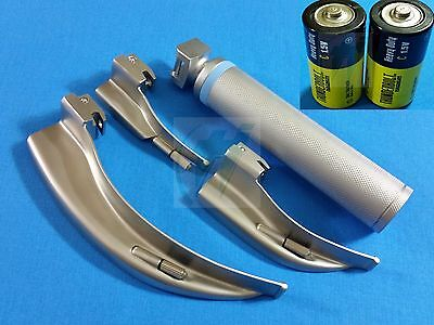 3 Laryngoscope Macintosh Mac Blades #0 #1 #4 + Medium Handle+Batteries Emt Set