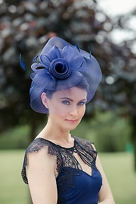 Navy Hat Fascinator Disc Ascot Wedding Mother of the Bride Occasion
