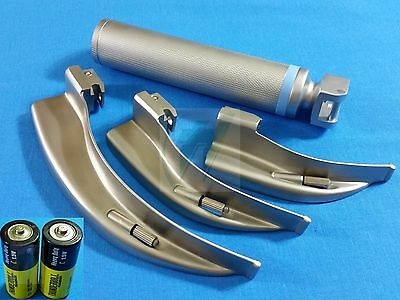 3 Laryngoscope Macintosh Mac Blades #1 #2 #4 + Medium Handle+Batteries Emt Set