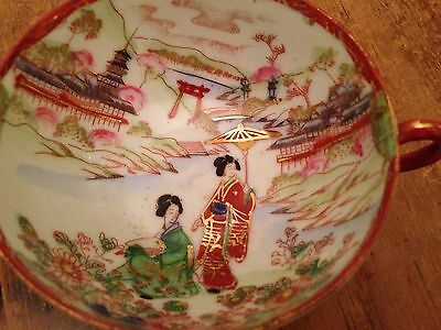 Antique Vintage Japanese Tea / Coffee Cup Geishas Pagodas Flowers Gold Accents