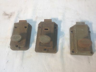 Vintage set of 3 Fraim Keil cast metal bolt door lock sets hardware