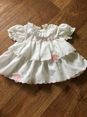 VINTAGE 1950s BABY CLOTHES 12 Month Size White DRESS Pink Roses STUNNING!