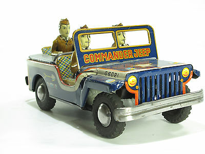 HUDSON JAPAN, COMMAND JEEP, 23 cm, Friktion,1953, Guter Zustand, 3 Soldaten RAR