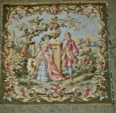 "VINTAGE Goblys ROMANTIC SCENE TAPESTRY marked made in FRANCE 19"" x 20"""