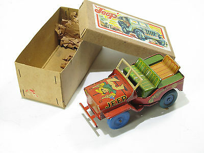 HUDSON JAPAN, BOYS  JEEP, 14 cm, Friktion,1950, Guter Zustand, Original Karton
