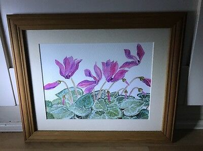 Lovely Watercolour Painting Of Cyclamen Flowers In Wood Frame