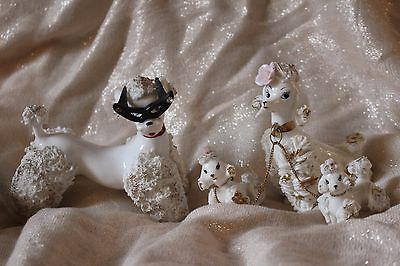 Vintage Kitsch 4 White Poodle Spaghetti Figurines Made In Japan Porcelain