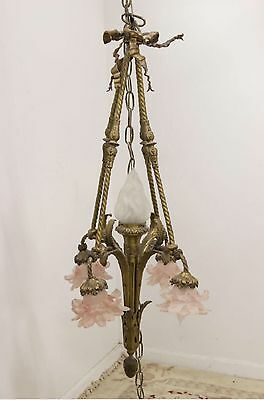 Antique Bronze Brass French Empire Basket Chandelier Pink Glass Flower Shade