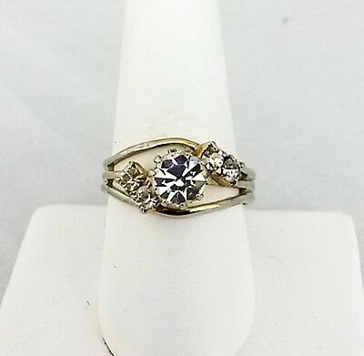 Vtg Solitaire Clear Rhinestone Gold Tone Adj Ring Size 8.5