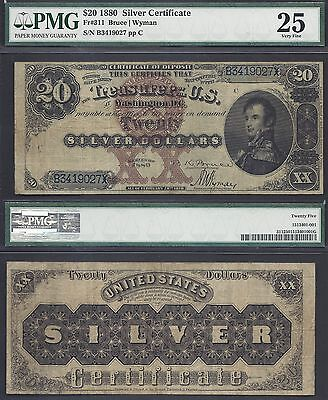 $20 1880 SC=BLACK BACK =Fr. 311==DECATUR=AMAZING COLOR=PMG Very Fine 25