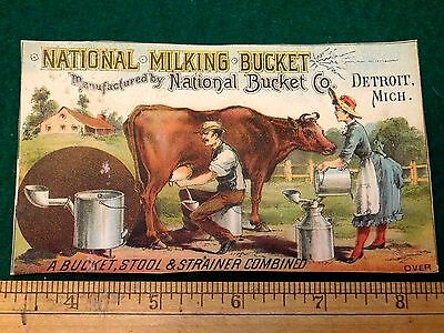 National Milking Bucket National Bucket Co Detroit Dairy Victorian Trade Card F1
